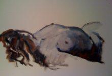 Peinture à l'huile, nu, femme, rouge