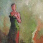 Peinture à l'huile, vert, jardin, femme,