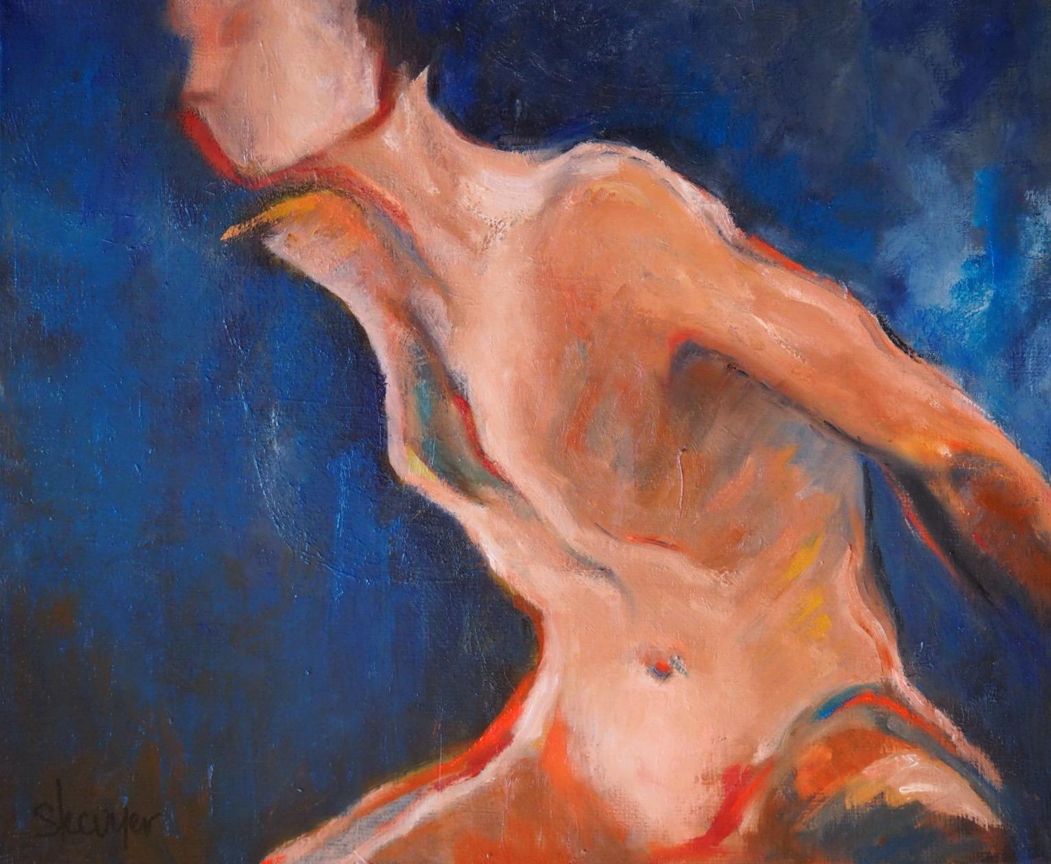 Peinture à l'huile, nu, femme, bleu