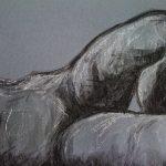 Etude de jambes et ventre, fusain sur papier