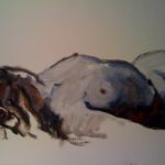 Etude de femme allongée, huile sur papier, VENDU