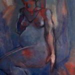 Peinture à l'huile, femme enceinte, bleu