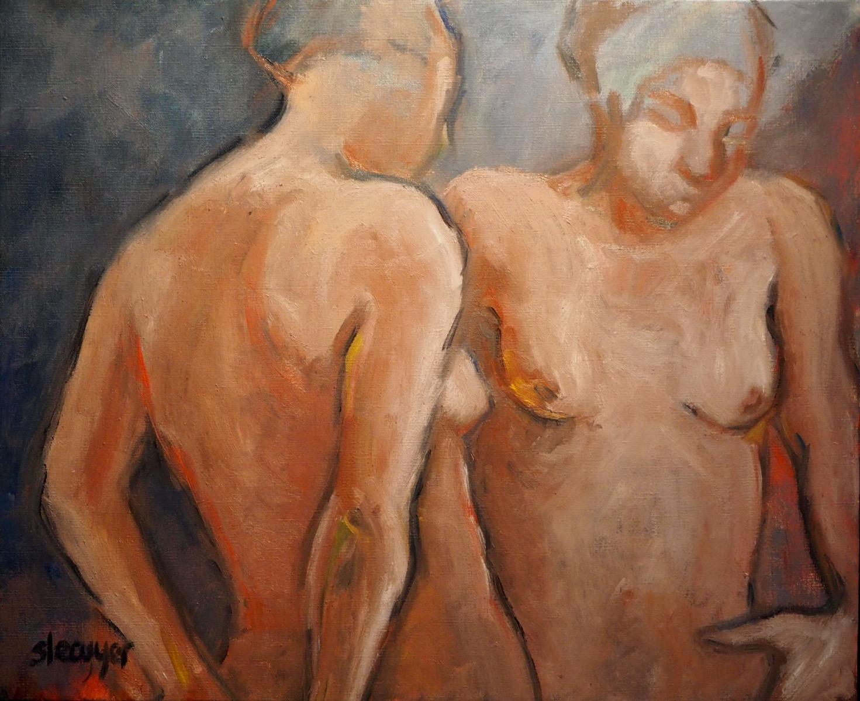 Conversation, huile sur toile, 61cmx50cm